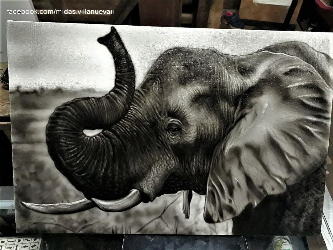 Elephant Airbrush Painting by Dos