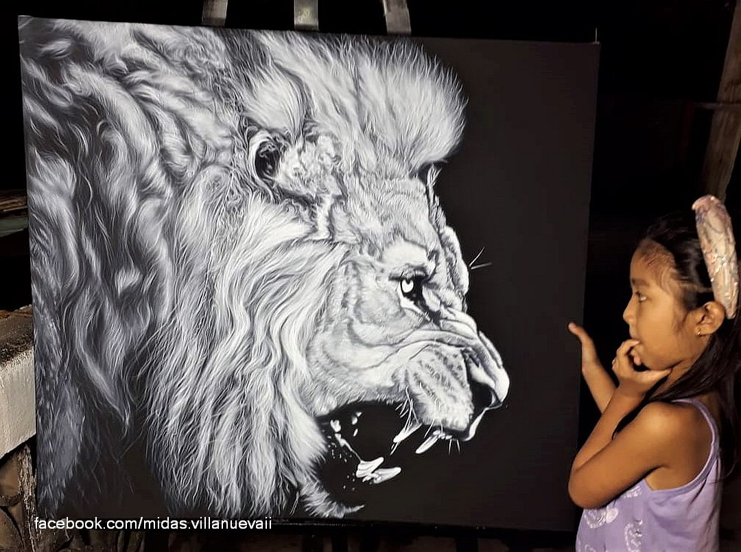 Lion Airbrush painting by Dos